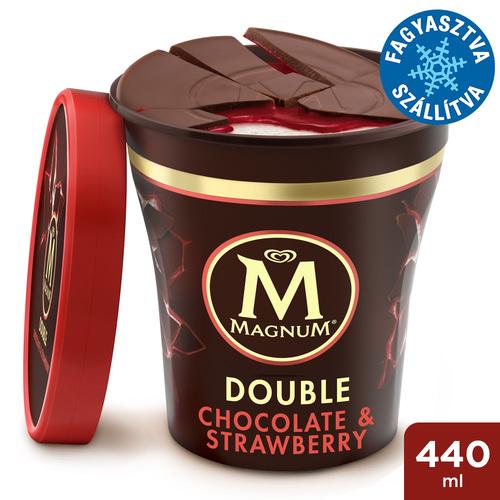 Magnum Poharas Tejcsokoládé & Tejszínes eper jégkrém 440ml